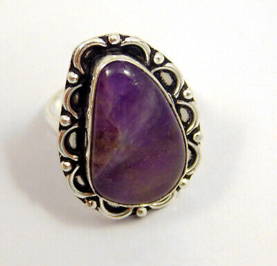 Amethyst Lace .925 Silver Plated Handmade Ring Size-7.75 Jewelry JC4014