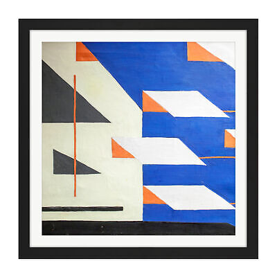 Tihanyi Blue Yellow Composition Modern Painting Square Framed Wall Art 16X16 In