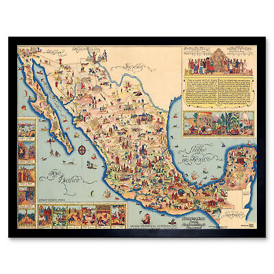 Pictorial Map Of Mexico 1931 Vintage Wall Art Print Framed 12x16