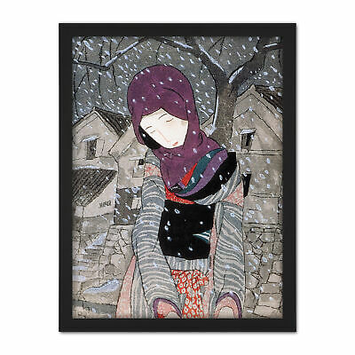 Takehisa A Legend At Night In Snow Painting Framed Wall Art Print
