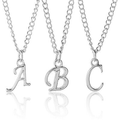 """Personalised Necklace Silver Plated Scroll Initial Letter 18"""" Adjustable A to Z"""