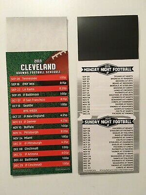 "NFL 2019 CLEVELAND BROWNS MAGNET SCHEDULE (9""x3 1/2"")+ALL SUNDAY & MONDAY NIGHT"
