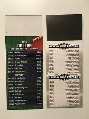 "NFL 2019 DALLAS COWBOYS MAGNET SCHEDULE (9""x3 1/2"") + ALL SUNDAY & MONDAY NIGHT"