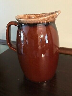 Small Vintage Hull USA Pottery Brown Drip Pattern  Pitcher