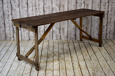 Vintage Wooden Pine Rustic Trestle Kitchen Dining Folding Table Cafe Bar Event (