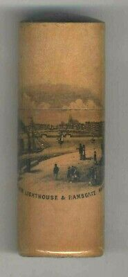 Antique Box The New Lighthouse &  Ramsgate Harbour Mauchline Ware Treen Tube
