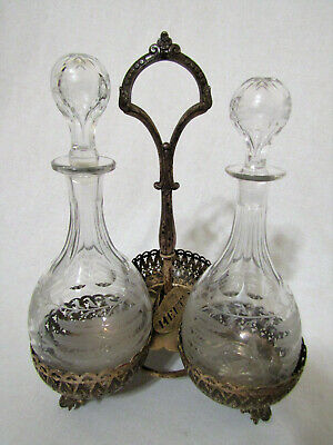 Vintage W.w.h. & Co Sterling Silver Footed 3 Decanter Holder 2 Crystal Decanters