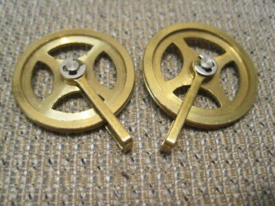 (2) Brass Clock Cable Pulleys