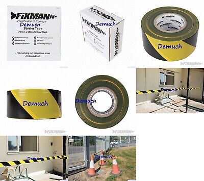 New BARRIER TAPE YELLOW BLACK Safety Warning Marking Hazard Tape 70mm x 500m UK✔