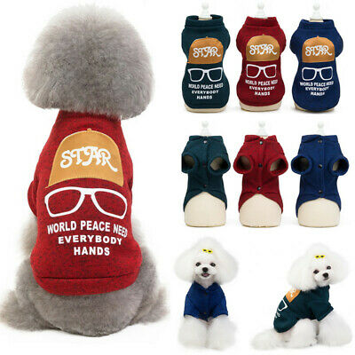 Glasses Frames Pattern Pet Puppy Dog Cat Sweatshirt Warm Coat Winter Costumes