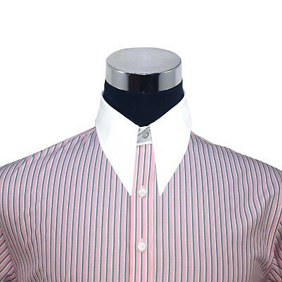 Spearpoint collar Mens shirt Pink stripes 1930s Vintage Classic WWII 100% Cotton
