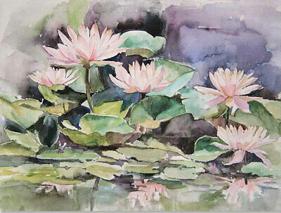 CHOP350 high quality hand-painted Pond Lotus fish oil painting art on canvas