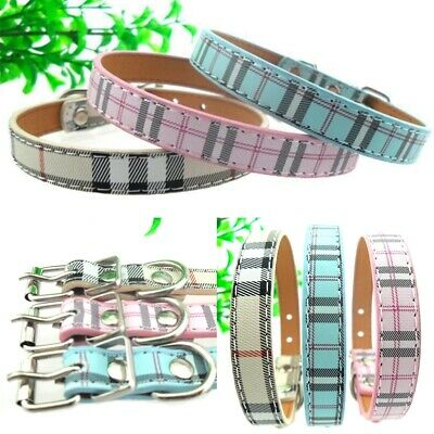 Pet Dog PU Leather Collar Plaid Neck Strap Pet Cat Puppy  Neck Buckle Adjustable