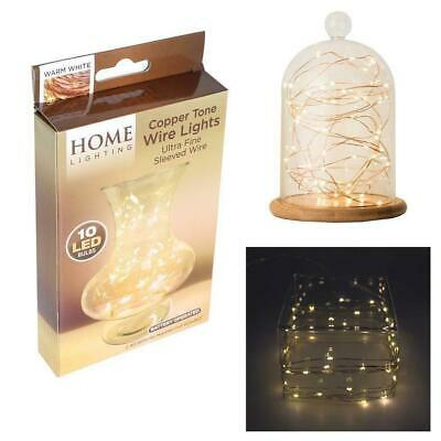 10 Warm White LED Battery Micro Rice Wire Copper Fairy String Lights Party