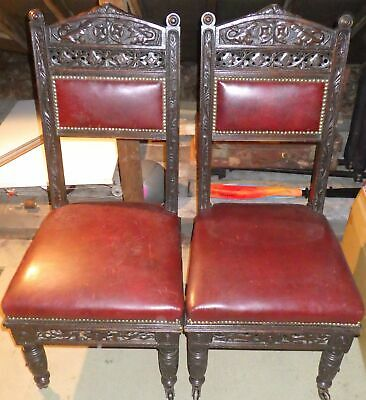 Antique Oak and Leather dining chairs x4