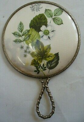 Vintage Hand Mirror with Satin-Effect Back. Unusual Design