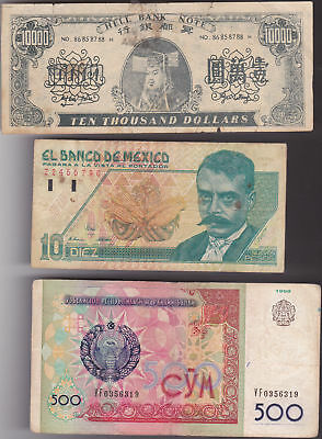 lot de 3 billets du monde