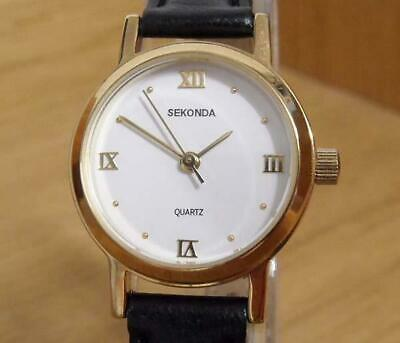 Ladies Vintage Retro Traditional Gold Plated Leather Sekonda Analog Watch in Box