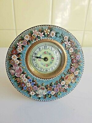 Miniature Junghans Mosaic Porcelain mantle clock working order.