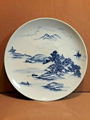 """Antique Vintage Chinese Porcelain BLUE and WHITE Charger Platter 13 1/2"""""""