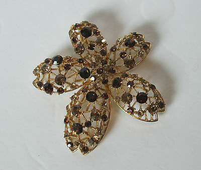 Vintage Gold Tone Brown Rhinestone Flower Pendant Brooch Pin