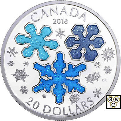 2018 'Ice Crystals' Enameled Proof $20 Silver Coin 1oz .9999 Fine (18269)(OOAK)