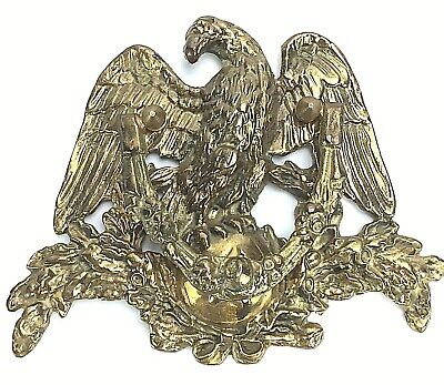 Vintage Solid Brass American Eagle Figural Door Knocker Hardware Victorian