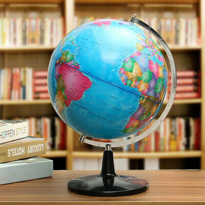 32CM Metal Rotating Earth Globe World Map Swivel Stand Geography Educational Toy