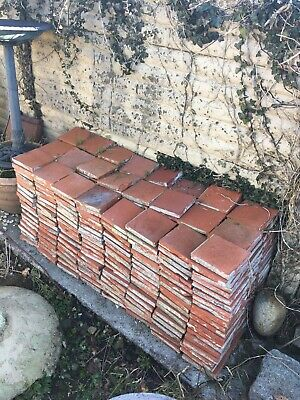 Antique Original Victorian  Red / Terracotta 9 Inch Tiles