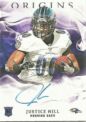 2019 Panini Origins NFL Justice Hill Auto SP Baltimore Ravens signed RC Card