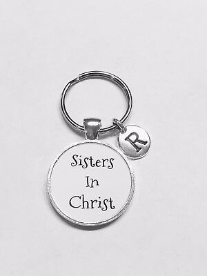 Sisters In Christ Keychain Christian Church Friend Initial Gift Friendship