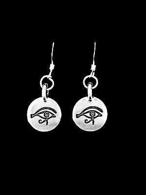 Eye Of Horus Dangle Charm Earrings, Sterling Silver French Hook Ear Wire, Luck