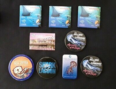 Monterey Bay / Aquarium of the Pacific Pinback Buttons Magnets 1990s Otter Shark