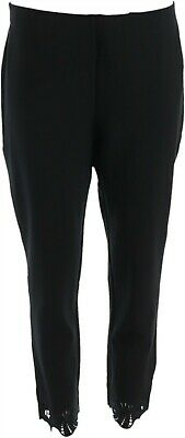 Kelly Clinton Kelly Petite Ponte Pull-On Ankle Pants Lace Black PM NEW A343676