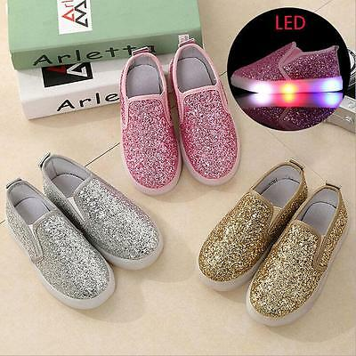 LED Sequin Kids Boys Girls Shoes Light Up Luminous Children Trainers athletic sz