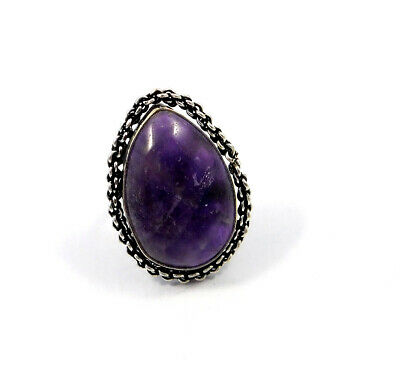 Amethyst Lace .925 Silver Plated Handmade Adjustable Ring Jewelry JC8814