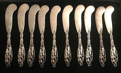 10 Antique Sterling Silver Butter Knives Dominick And Haff Labors Of Cupid Rare!