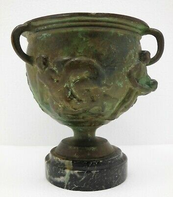 Ancient Roman Bronze Goblet Depicting Men in Combat  Circa 500 BC