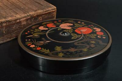 T2364: Japanese Wooden Lacquer ware INKSTONE CASE Box w/box Calligraphy tool.