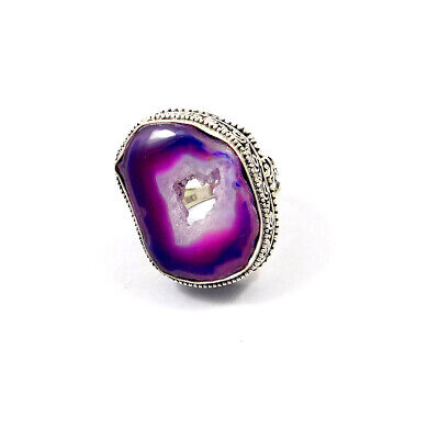 Druzy Slice Agate .925 Silver Plated Ring Size-8 Jewelry JC10296