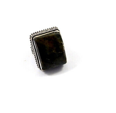 Labradorite .925 Silver Plated Hand Carving Ring Size-7.75 Jewelry JC10269