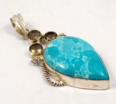 Larimar & Kyanite Quartz .925 Silver Plated Handmade Pendant Jewelry JC4631