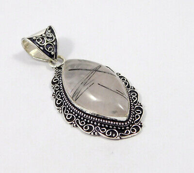 Black Needle Rutile .925 Silver Plated Carving Pendant Jewelry JC7488
