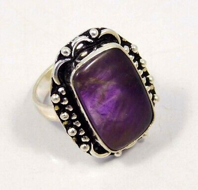 Amethyst Lace .925 Silver Plated Handmade Ring Size-8.75 Jewelry JC4394