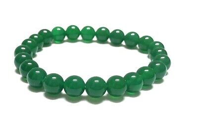 Great Beads Green Round Onyx Rubber Bracelet Jewelry PP30