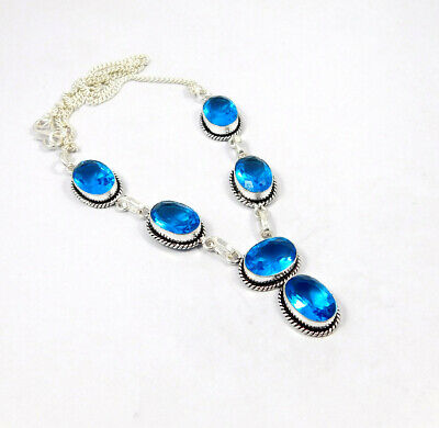 Swiss Blue Topaz Quartz .925 Silver Plated Handmade Necklace Jewelry KD96