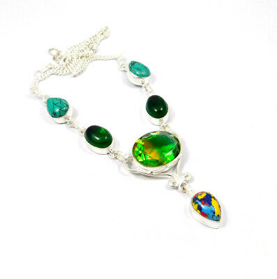 Multi Stone  .925 Silver Plated Handmade Necklace Jewelry KD77