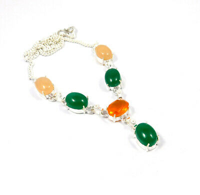 Green Onyx & Chalcedony .925 Silver Plated Handmade Necklace Jewelry KD91