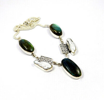 Labradorite & Pearl .925 Silver Plated Handmade Necklace Jewelry KD59