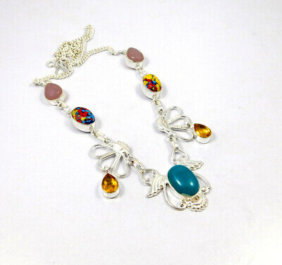 Multi Stone .925 Silver Plated Handmade Necklace Jewelry KD80